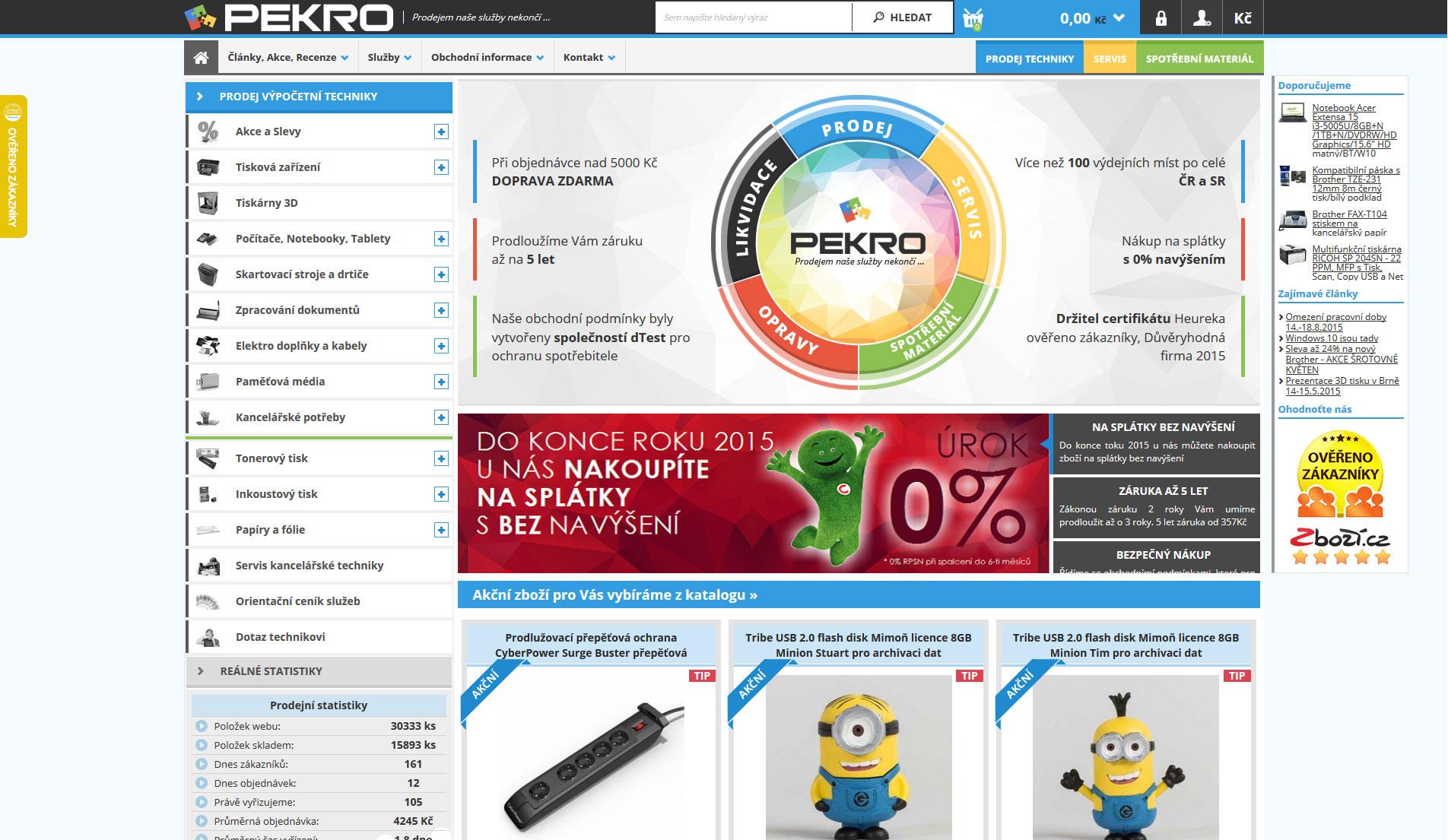 E-shop napojený na ERP Pohoda E1. Zboží aktualizované od pěti dodavatelů.  Cílení informací dle polohy zákazníka. Multiměnovost (Kč 66a6ff3d9f